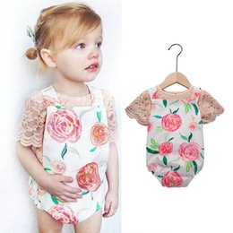 baby brace suit Promo Codes - new Ins Baby Suit Girls Outfits newborn baby girl clothes lace T shirt+Braces Suspenders Girl Suit Newborn Outfits Infant suits A5222