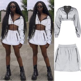 f1f1ae2427 Fashion Women Suits Autumn Reflective Zipper Hooded Long Sleeve Crop Top  Lady Clothing Set Reflective Hoodies Mini Pencil Skirts on sale