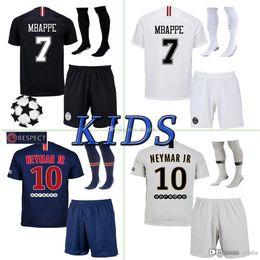 Canada 2019 Paris kits enfants + chaussette maillot de foot MBAPPE 18 19 psg MBAPPE CAVANI MARQUINHOS LUCAS DI MARIA MATUIDI DANI ALVES Maillots de foot enfants Offre
