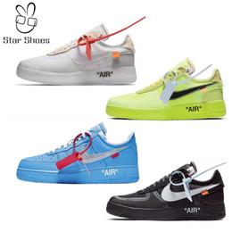 OFF w White x Nike Air Force 1 MCA Azul Blanco Rojo metálico de plata de los hombres de los zapatos ocasionales Volt 2.0 deportivo inferior de los zapatos corrientes Tamaño del EUR 36-45 desde fabricantes