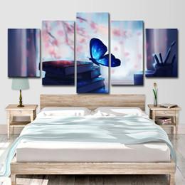 pintura al óleo hierba Rebajas (Solo lienzo sin marco) 5pcs hermosa mariposa azul brillante y libro pluma arte de la pared HD impresión lienzo pintura moda colgando fotos
