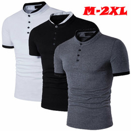 Elegante t design da camisa do pescoço on-line-Mens Verão Casual clássico elegante Slim Fit T Tops Botão de manga curta O-Neck camisetas Popular design superior