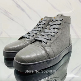cl andgz Gray Lace-up Rivet High-Top Red bottoms for Man shoes Sneakers  Crocodile Leather Loafers Footwear Sneakers casual Flat 81c4a3c7cef7
