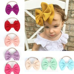 baby bow headwrap Promo Codes - Ins Europe Baby Girls Big Bowknot Headband Kids Double Layers Bow Hairband Children Bandanas Headwrap A246