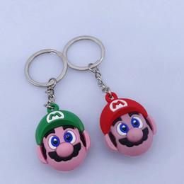 senhor anéis figuras Desconto Super Mario Bros Chaveiro Key bonito do Anel PVC Anime Figura Keychain Carro porta-chaves Super Mario figura chaveiro KKA7529