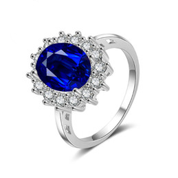 diana rings Promo Codes - Princess Diana William Kate Gemstone Rings Sapphire Blue Wedding Engagement 925 Sterling Silver Finger Ring for Women