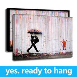 oil paintings art print canvas frame Promo Codes - Frame Wall Art painting Bright Color Painting Banksy Art Colorful Rain Wall Canvas Abstract Paintings Home Decor for Living Room Office -