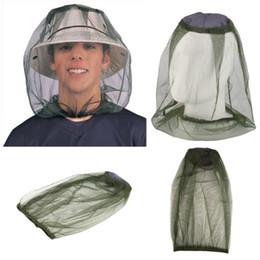 Mosquiteiros on-line-Midge Inseto Mosquito Cabeça Net Shell Caso Abelha Cabeça Máscara Cap Manga Hat Net Proteção Com Pescoço Malha Rosto Proteção de Viagem de Acampamento B121Q F