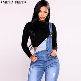 Blue rompers jean online-Mind Feet Donna Salopette Cinghie Jeans Donna Basic Classic Matita Blue Denim Pants Strappato Hole Stretch Pagliaccetti Tuta Jeans J190425