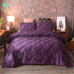 Consolador define super rei on-line-Luxo Pitada Pleat cama conjuntos de cama consolador roupa de cama capa de edredão conjunto de cama rainha king size roupas de cama conjunto de cama