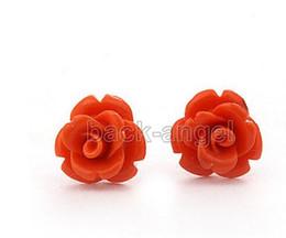 Brincos de flores cor de rosa on-line-Mulheres Moda Jóias Frete grátis hot Coral pink Rose Flor Brinco Moda Jóias