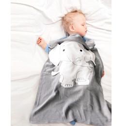 Baby-decken für den sommer online-Baby Blankets Newborn Elephant Cartoon Blanket Knitted Thick Warm Kids Summer Soft Blankets Bedding 70*110CM MMA2016
