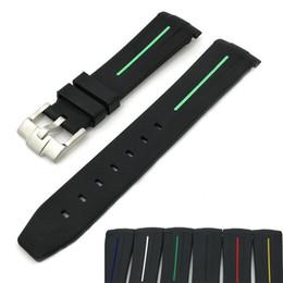 Bande d'eau en Ligne-ADAPTE la bande de montre en silicone bicolore de 20 mm de haut grade avec arc incurvé et fantôme d'eau