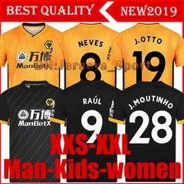 Kits de futebol preto amarelo on-line-2019 2020 Wolves NEVES RAUL casa amarelo camisas de futebol 19 20 Wolverhampt DIOGO J. MOUTINHO Wanderers crianças black football tshirts jerseys kit