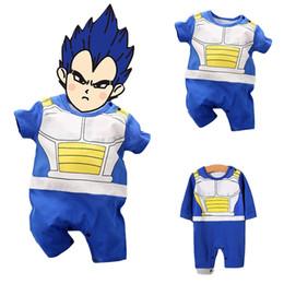 Bebê recém-nascido cosplay on-line-Bebê recém-nascido Dragon Ball Vegeta Rompers 2019 Novo anime Super Saiyan Cosplay Macacões Bebê Longo / Manga Curta Roupas Dos Desenhos Animados B