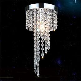 Lampada da soffitto in cristallo dorato chiaro online-Modern chrome / Golden lustre LED Crystal chandelier lighting Fixture Pendant Ceiling Lamp Crystals lampadario lampadari avizeler