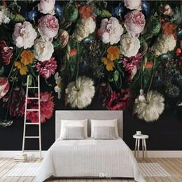 Carta da parati murale moderna della foto su ordinazione 3D variopinta rosa rossa bianca floreale floreale decorativa domestica per il salone del fondo del sofà della TV da