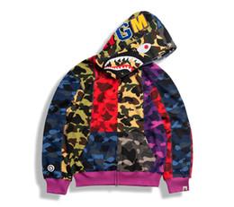 Homens amarelos hoodie on-line-Camuflagem tubarão Hoodies Zip Casual Homens de moda Cardigan capuz Hoodies Azul Amarelo Casual com capuz Hoodies Outwear
