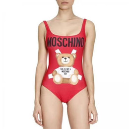 2019 traje de bikini pequeño caliente Mujeres CALIENTES MOSC MO Pequeño Oso Diseñador de moda traje de baño rojo Bikini Para Mujeres Carta Traje de Baño Vendaje chicas Sexy Baño Traje de una pieza S-XL