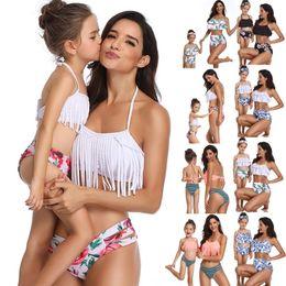 2019 rosa sparkly kleid 5t Sommer-Eltern-Kind-Badeanzug drucken hohe Taille Bikini gekräuselte Mutter und Tochter lässige Badebekleidung (2-8 Jahre) (S-XL)