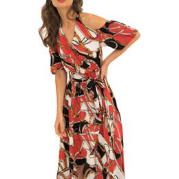 Мода salidas de playa para mujer 2019 пряди jurkjes леди сексуальное богемное праздничное платье с завязками на шее Цепочка Цветочный пляжное длинное платье от Поставщики шифон платье для новорожденных