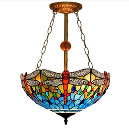 Stained Glass Butterfly Pendant Lamp 7 Lights Tiffany Style Chandelier for Restaurant Hotel