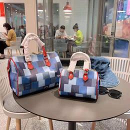 borse di jean Sconti 2019 Super Fashion Designer Handbag della ragazza di stile di una spalla Crossing Bag Ragazze jeans stampato Scacchiera con Red