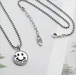 Catene di smiley online-Design originale Retro gioielli in argento sterling 925 tailandese fatti a mano su misura catena perline Smiley Face Love Me orecchini serie di orecchini K4818