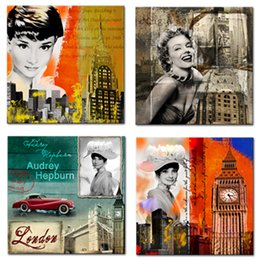 famous figures Promo Codes - Canvas Prints Wall Art Marilyn Monroe Pictures Colorful Famous Buildings Paintings for Living Room Home Decor Stretched Framed Ready to Hang