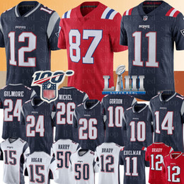 Rob on-line-Patriota 12 Tom Brady 11 Julian Edelman 87 Rob Gronkowski Jersey 26 Sony Michel 10 Josh Gordon Stephon Gilmore Harry Brandin Cooks