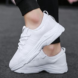 корейские белые кроссовки Скидка Summer white sneakers women's breathable casual  woven mesh 2018 new Korean version of the wild net red white shoes