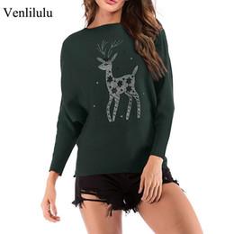 Damen hirsch pullover online-Strickpullover Frauen Pullover Tier Strass Frühling Weibliche Pullover Tops Neujahr Frauen Deer Pullover Damen Pullover