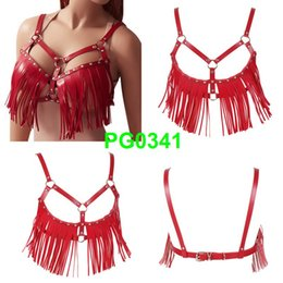 2019 cinghie di giarrettiera all'ingrosso Boho Tassel Red Harness in pelle Bra Body Bondage Hollow Out Sexy Lingerie Elastic Adjust Top Punk Gothic Dance Rave for Women