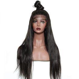 Pelucas remy indias del pelo online-Pelucas rectas del pelo humano del frente del cordón del pelo de Remy para las pelucas rectas del pelo de las mujeres con la rayita natural Extremo lleno + red de la peluca