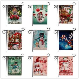 2019 decoracion de banderas 9 estilos Navidad Jardín Banderas Banderas Patrón de dibujos animados Tema de Navidad Dos lados Anmal Patrones de muñeco de nieve Decoración de fiesta Bandera FFA2826