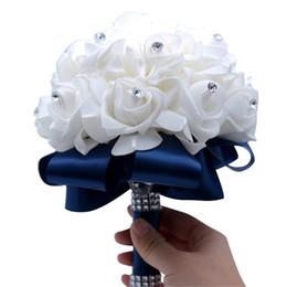 2019 regalos de boda de cristal baratos HS BRIDAL Nuevo Ramo de Boda para Mujer Rosa Artificial con Regalo de Cristal Dama de Honor Ramo de Novia Decoración de Emulación Barata rebajas regalos de boda de cristal baratos