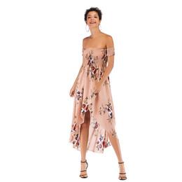 Женские модели длинное платье онлайн-Взрывные модели сексуальные без бретелек слово воротник цветочные юбки весной и летом длинное шифоновое платье женский jooyoo