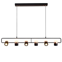 Barra lineal online-Moderno cobre negro elegante diseño lineal LED lámpara colgante luces de metal diseño para el hogar accesorio de iluminación lustre para bares sala de estar