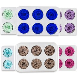 ewiges rosengeschenk Rabatt 1 Box Hohe Qualität Konservierte Blumen Blumen Immortal Rose 5CM Durchmesser Muttertag Geschenk Äonenleben Blume Material Geschenkbox