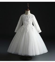 567ea8b95 Vestido de fiesta de cumpleaños del desfile de tul blanco para niña Con  lentejuelas con cuentas Vestido de princesa de niña Fluffy Kids Primera  comunión