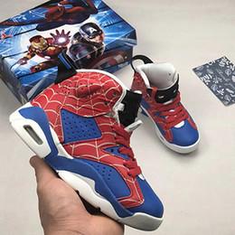Bambini Classic 6s UNC Chicago bianco infrarosso basso Spiderman Iron Man scarpe da basket 6 carminio Oreo nero gatto bambini sneakers Taglia 28-35 cheap iron cats da gatti di ferro fornitori