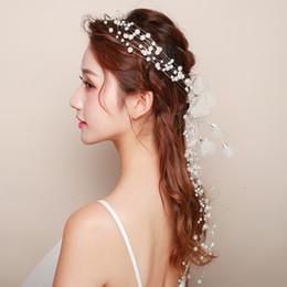 Romántico coreano Boda Casco Accesorios para el cabello Perlas simuladas Hilado Flor Tocado Collar de mariposa Gargantilla Hecho a mano desde fabricantes