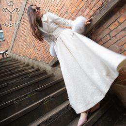 2019 weiße maxi-mäntel YOSIMI 2018 Winter Maxi Elegante Weiße Wolle Lange Frauen Mantel Outwear Kleidung Wolle Langen Mantel mit Lamm Manschette Womens Mäntel günstig weiße maxi-mäntel
