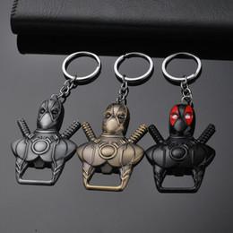 Fãs de black metal on-line-Deadpool Chaveiro Deadpool Abridor de Garrafa Chaveiro Chave Anéis de Bronze Preto Titulares Fãs de Jóias Transporte da gota