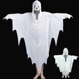 2019 traje de capa púrpura 2017 Nuevo Hot Halloween Cosplay Party Ghost Unisex Suit Human White Pattern Costume Halloween Scare Performance Clothes Wear Suit Adultos