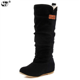 nouvelle 2018 mode femme femme bottes au genou talon plat en cuir nubuck moto femmes bottes automne bottes automne hiver shoes77 ? partir de fabricateur