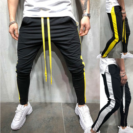 Gimnasio hombre chándal online-Pantalones para hombre Moda casual Hombres Deporte Pantalones largos Chándal Joggers Gimnasio Pantalones de entrenamiento Pantalones de chándal