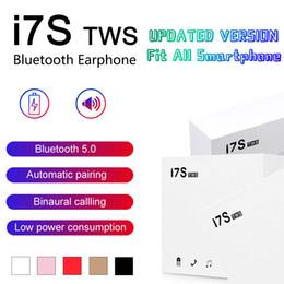 mini kabelloser stereo bluetooth kopfhörer Rabatt Bluetooth Kopfhörer I7 I7S TWS Twins Earbuds Mini drahtloser Kopfhörer-Kopfhörer mit Mic Stereo V5.0 für Telefon Android mit Kleinpaket