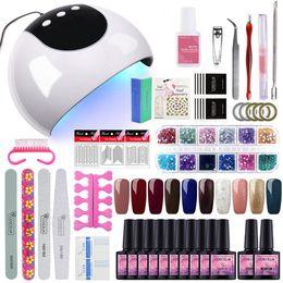 Kit de lâmpada de uva gel uv on-line-Conjunto de unhas 24/36 w uv led secador de lâmpada gel para unhas kit manicure set 10 pcs gel polonês verniz escovas ferramentas para manicure