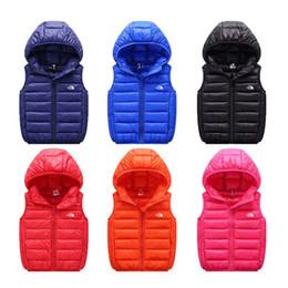 2020 chaleco de la chaqueta de la muchacha La chaqueta del Norte NF Marca niños de algodón acolchado chaleco chalecos Niño Niña Niño Cara abrigos de invierno caliente al aire libre con capucha chaleco chaqueta Anorak C112104 chaleco de la chaqueta de la muchacha baratos